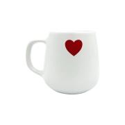 Caneca Cerâmica Branca Café - Coração Vermelho