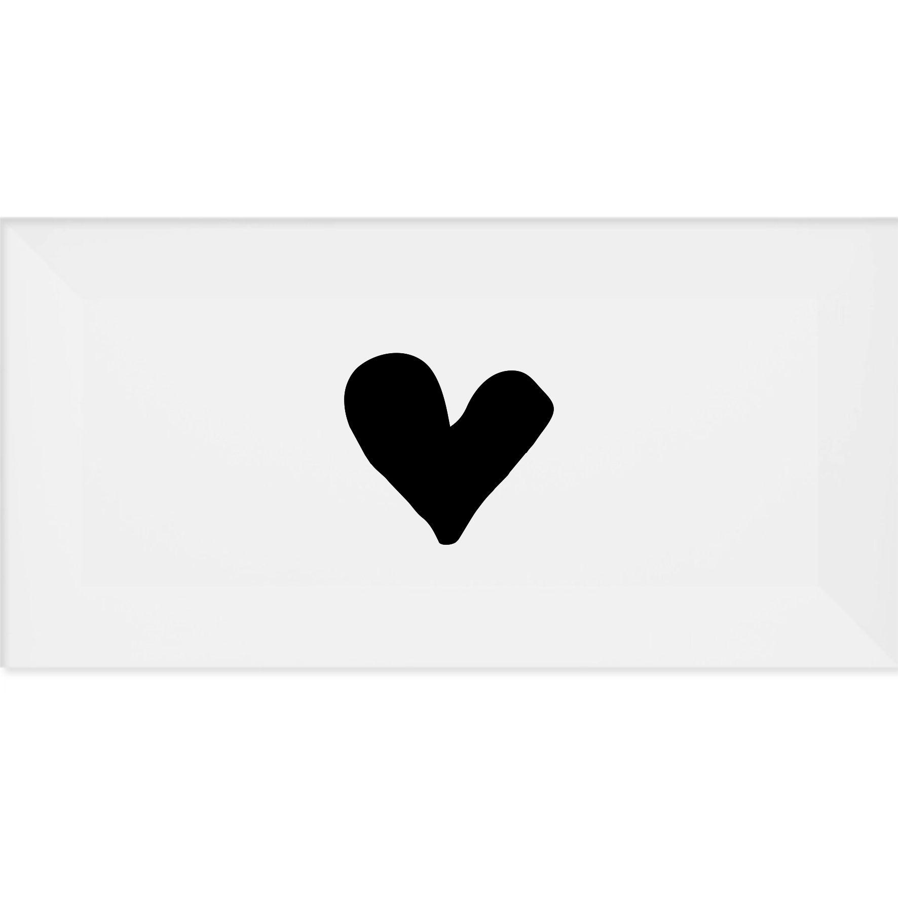 Azulejo Retangular Coração Preto