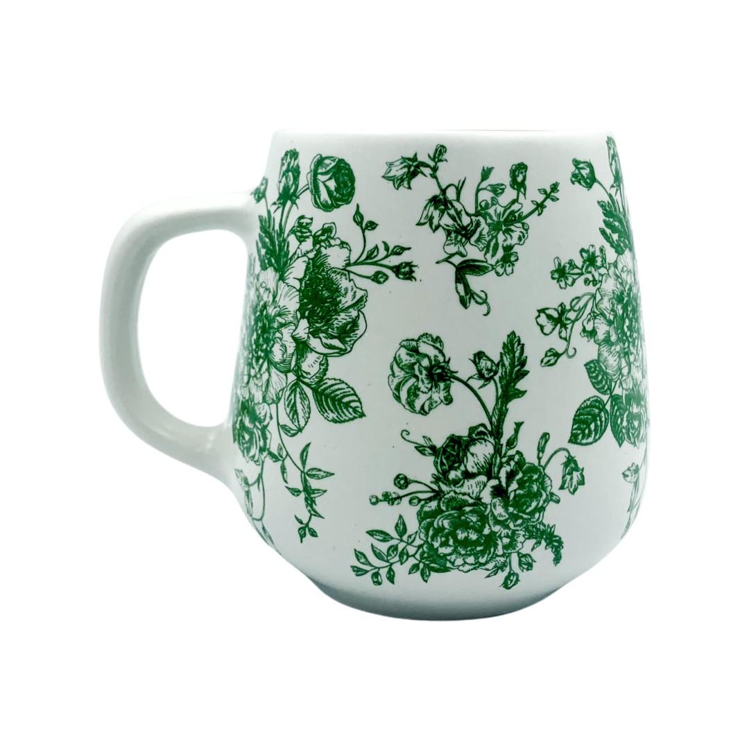 Caneca Branca Floral Verde