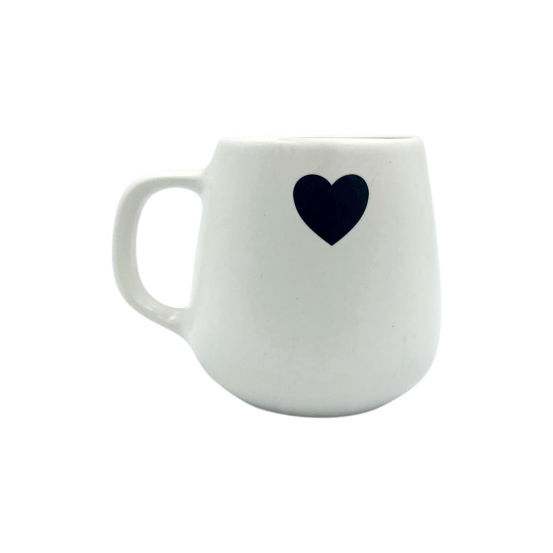 Caneca Cerâmica Branca Café - Coração Preto