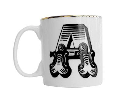 Caneca Decorativa - PB/Filete Ouro