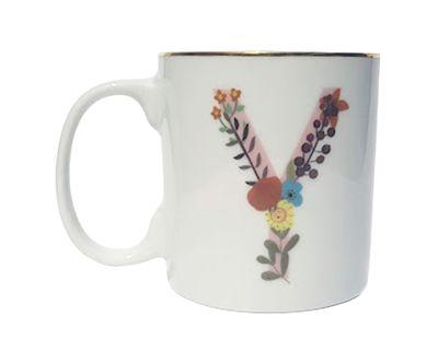 Caneca Letra Floral Y