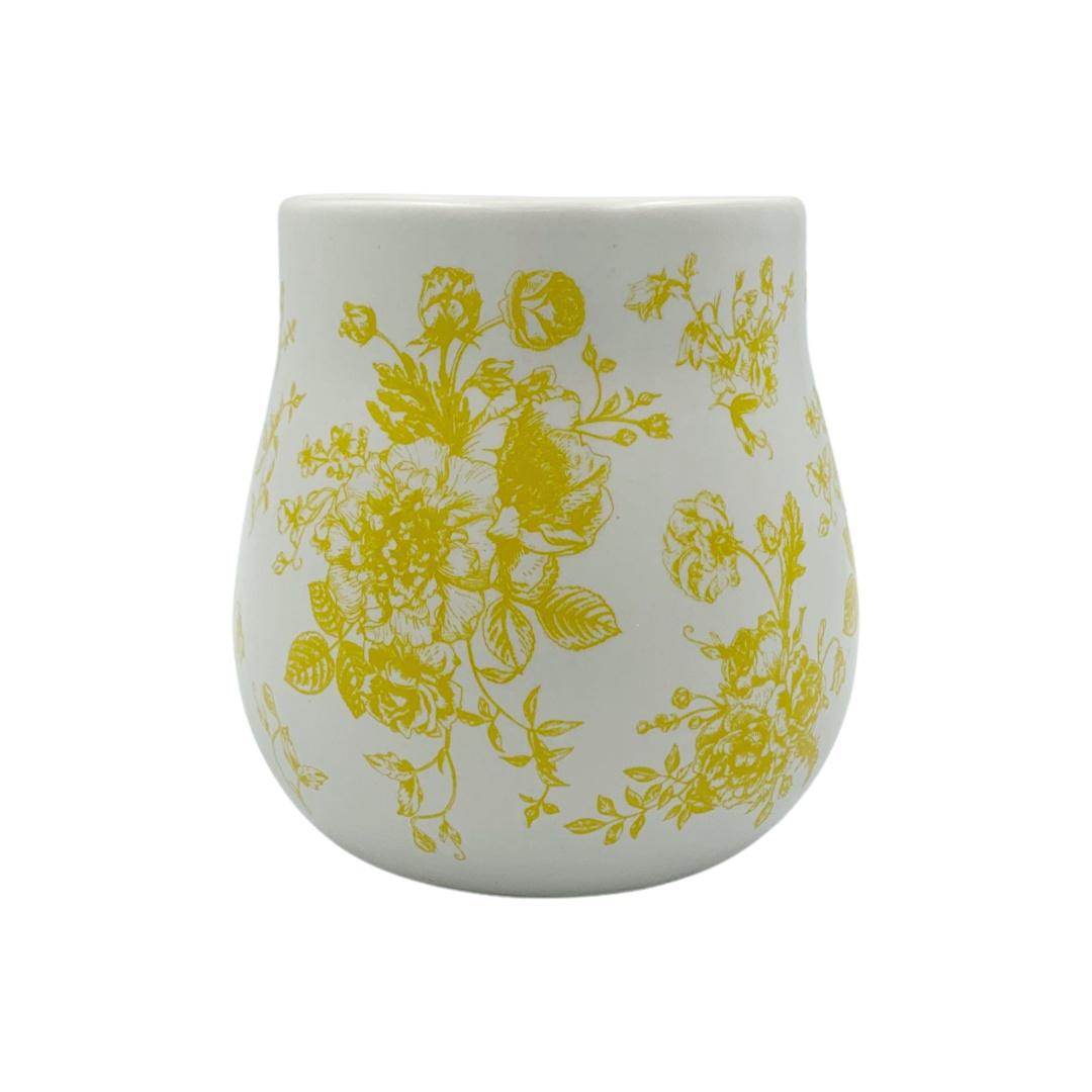 Copo Branco Floral Amarela