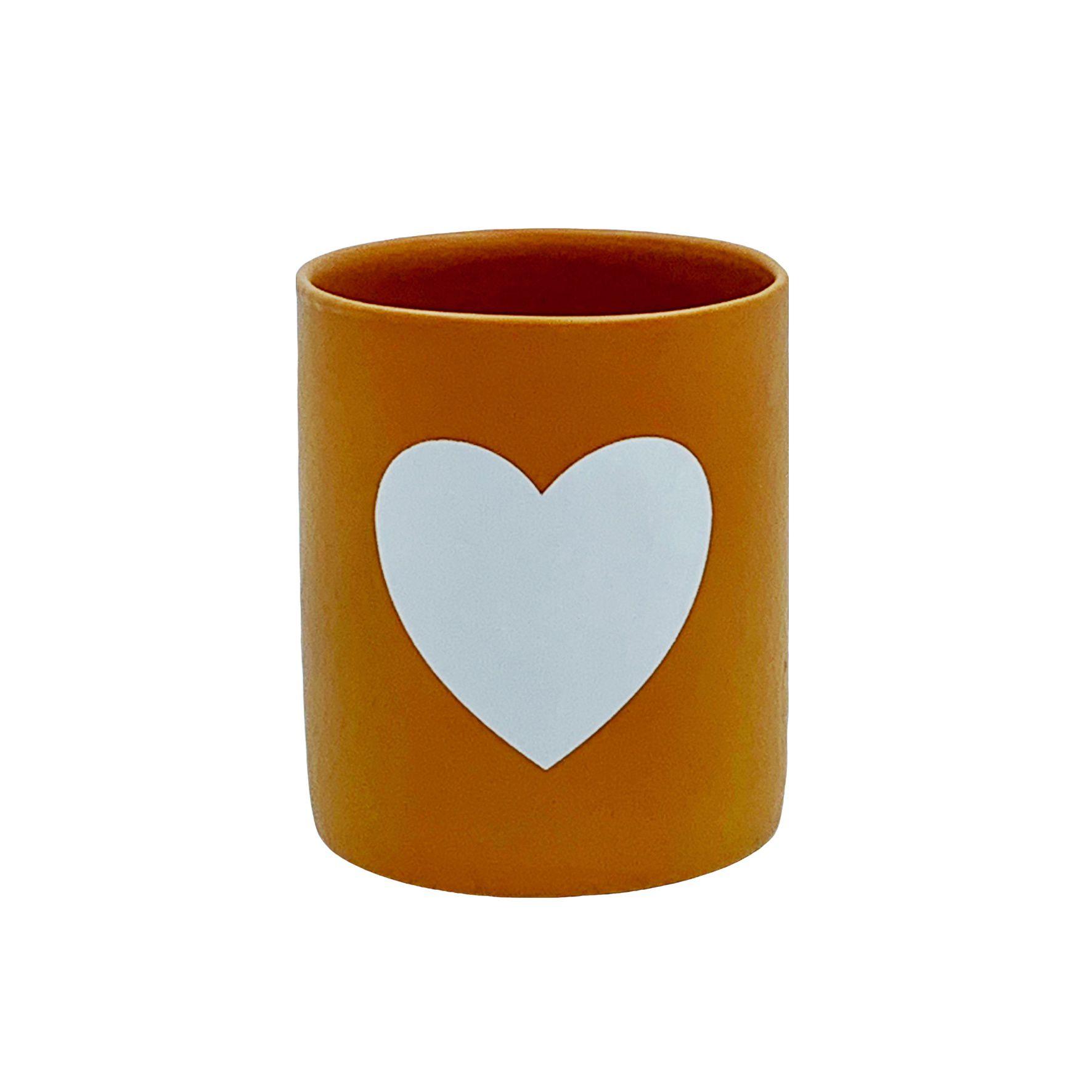 Copo Cerâmica Tijolo Coração