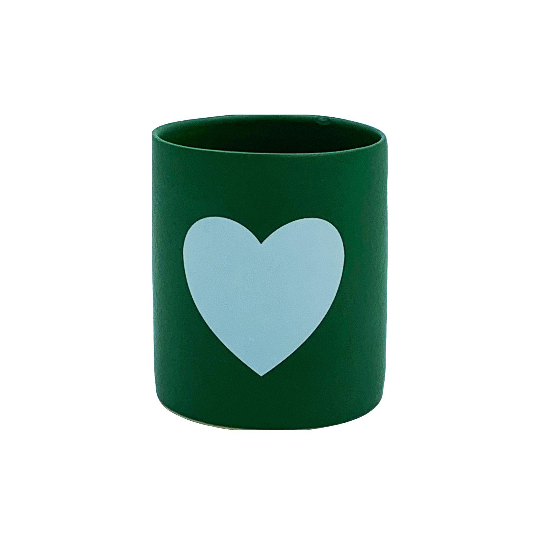 Copo Cerâmica Verde Coração