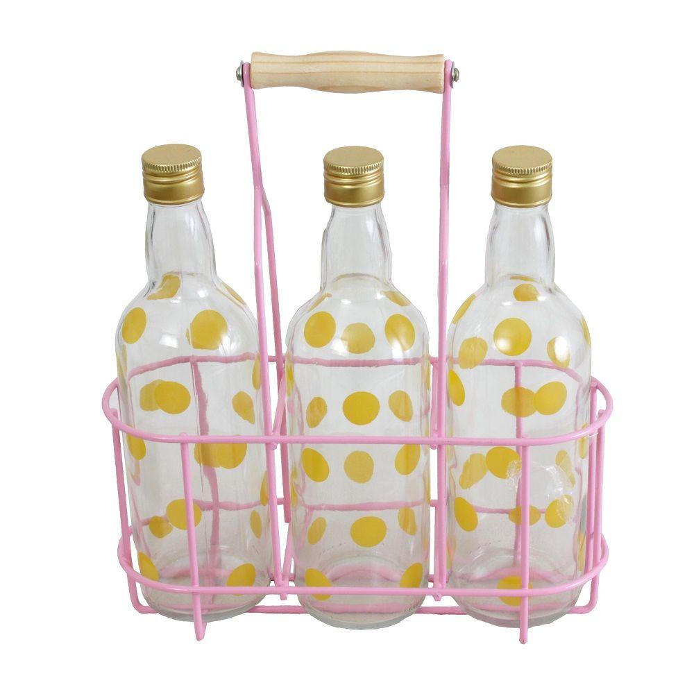 Garrafeiro Rosa p/ 3 garrafas com Garrafas Pois Amarelo