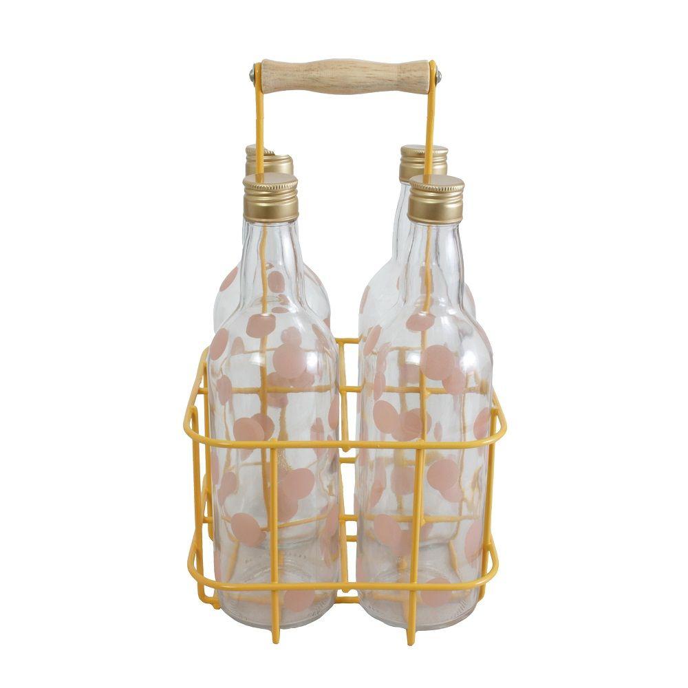 Garrafeiro Rosa p/ 4 garrafas com Garrafas Pois Amarelo