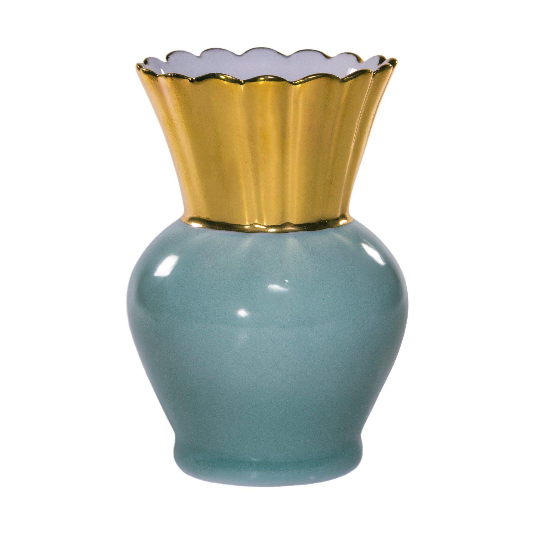 Vaso Abacaxi Ouro Azul