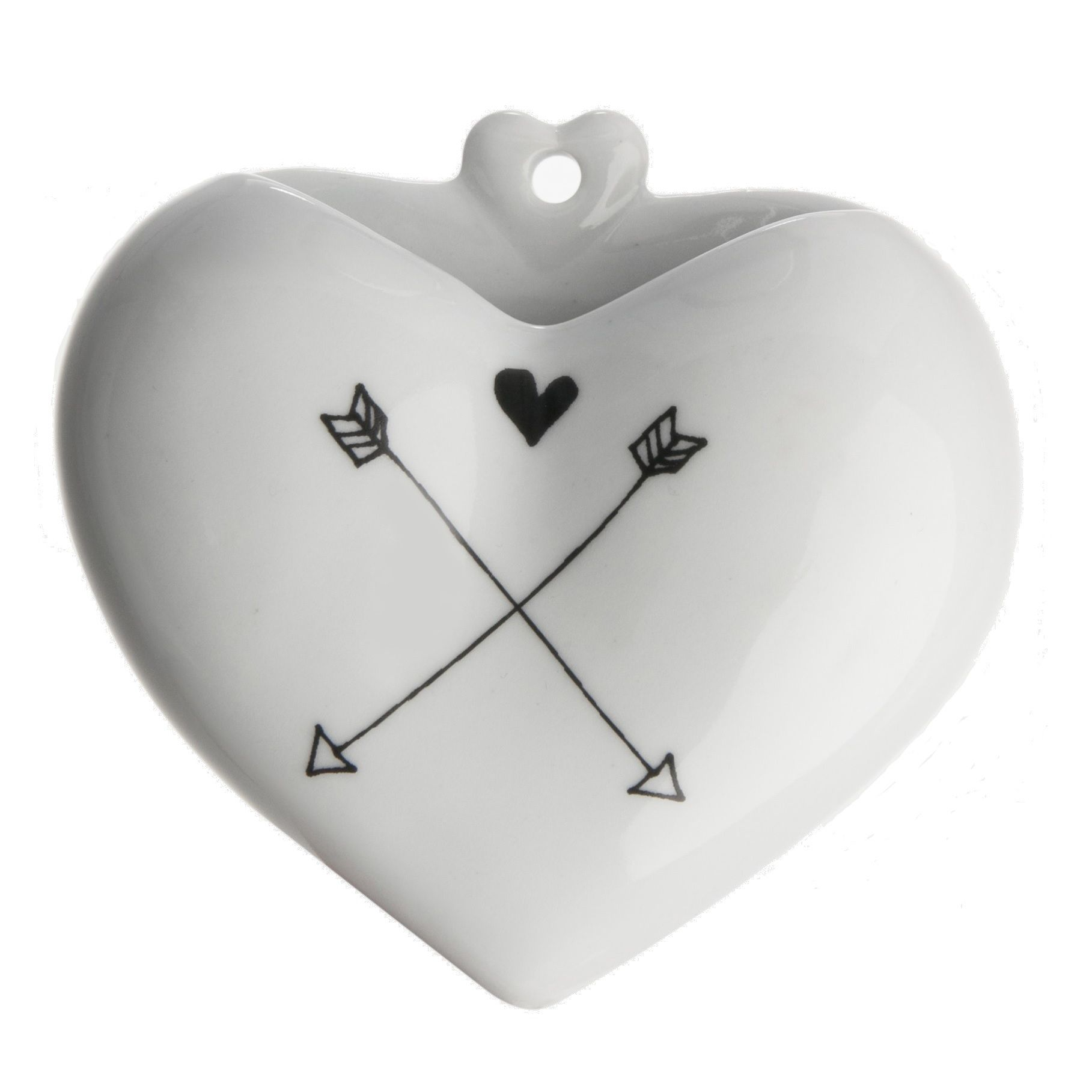 Vaso Coração PB - Desenho - Setas
