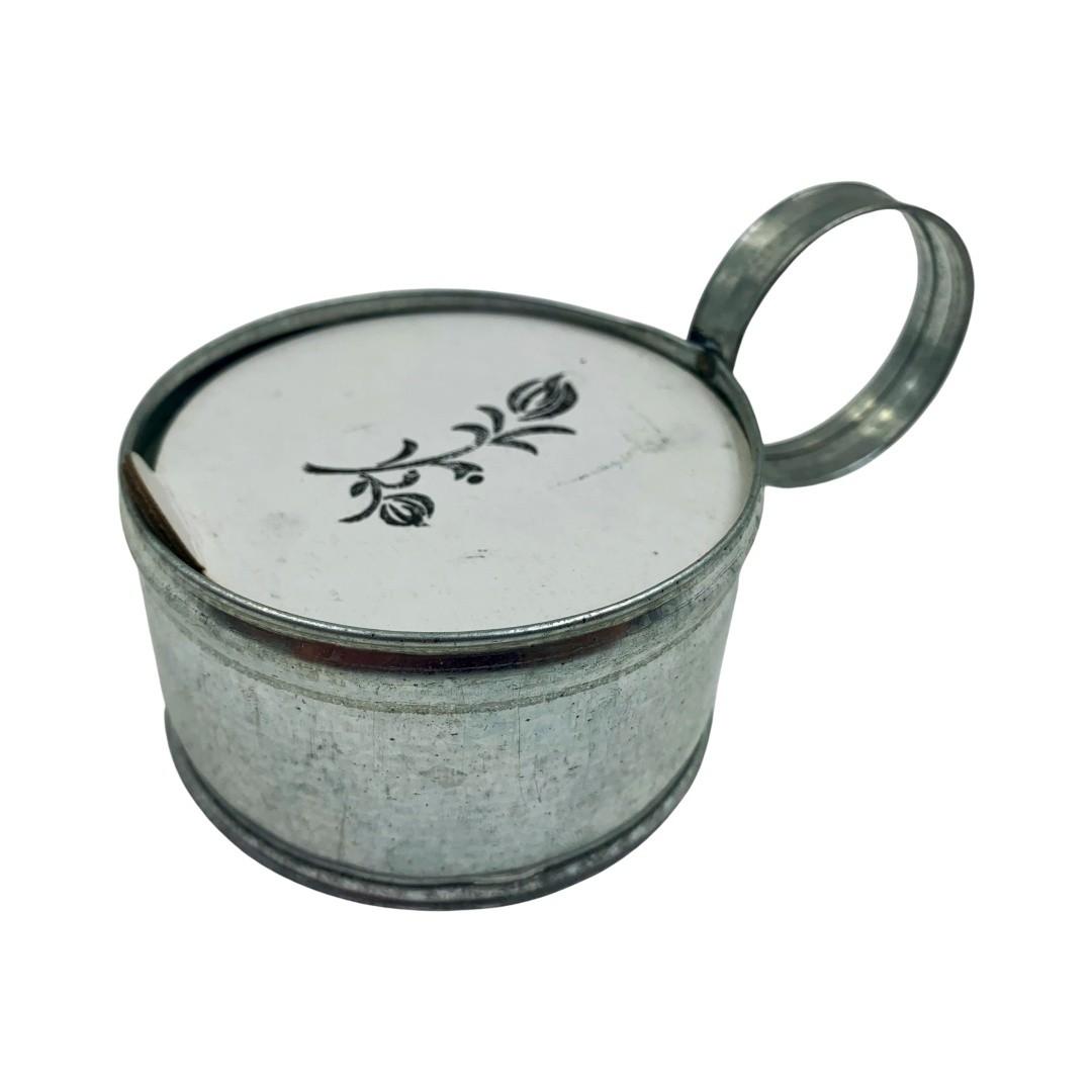 Vela Galvanizada Lamparina - Floral Rosas Brancas