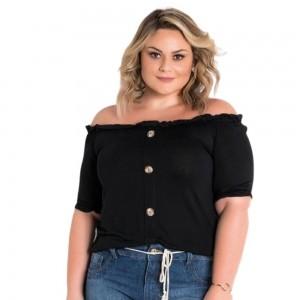 Blusa Ciganinha Feminina com Botões Plus Size