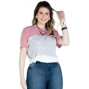 Blusa Com Recortes Plus Size Feminino