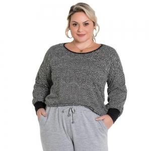 Blusa Moda Feminina Plus Size Chevron Plus Size Com Acessório De Cabelo