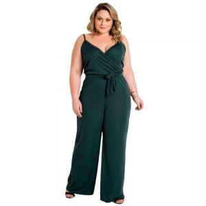Macacão Plus Size Feminino com Alças e Amarração Verde Plus Size