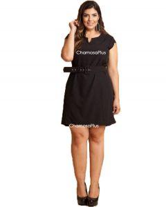 Vestido Crepe Plus Size Curto Liso com Cinto