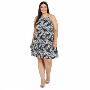Vestido de Alças Floral Plus Size Feminino