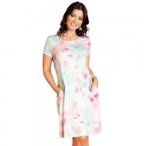 Vestido Feminino Com Bolsos Tie Dye Plus Size