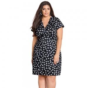Vestido Feminino Decote Transpassado Plus Size