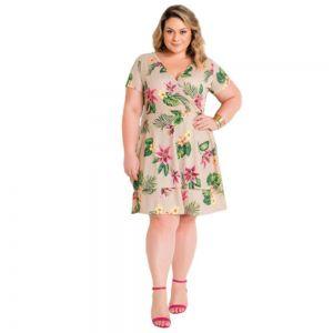 Vestido Feminino Plus Size Transpassado Floral com Babado