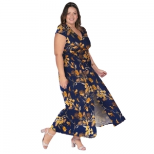 Vestido Longo Floral Plus Size Feminino