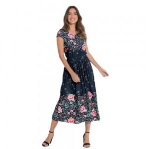 Vestido Midi Floral Barrado Plus Size