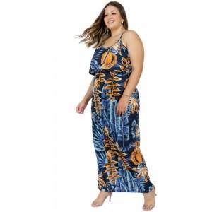 Vestido Plus Size Folhagem Azul E Babado Longo