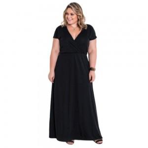Vestido Preto Longo Plus Size com Transpassado