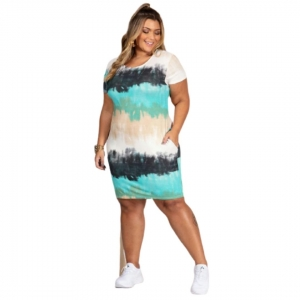 Vestido Roupas Femininas Tie Dye Com Bolsos Moda