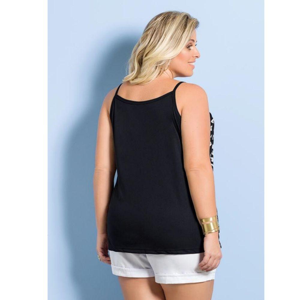 Blusa De Alças Preta E Estampa Laços Marguerite Plus Size