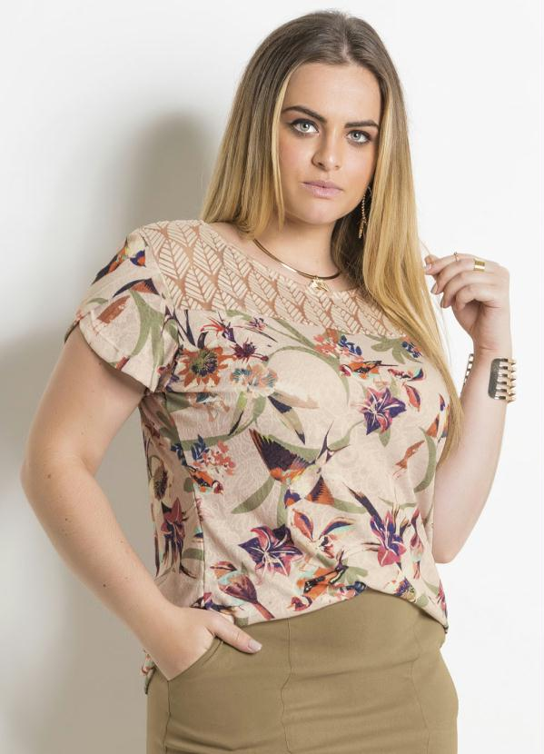 9523f8dc7586 Blusa Feminina Plus Size Estampada Detalhe em Renda - Moda Online ...