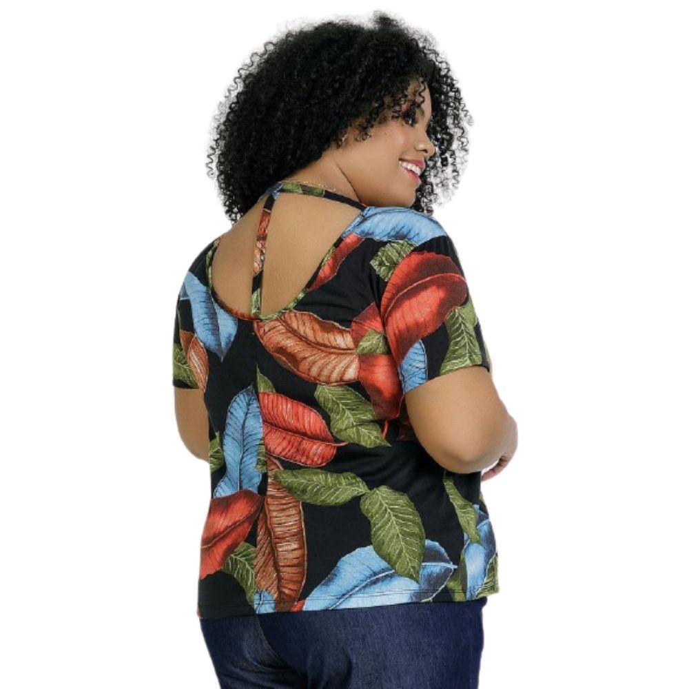 Blusa Feminina Decote Costas com Tiras Plus Size