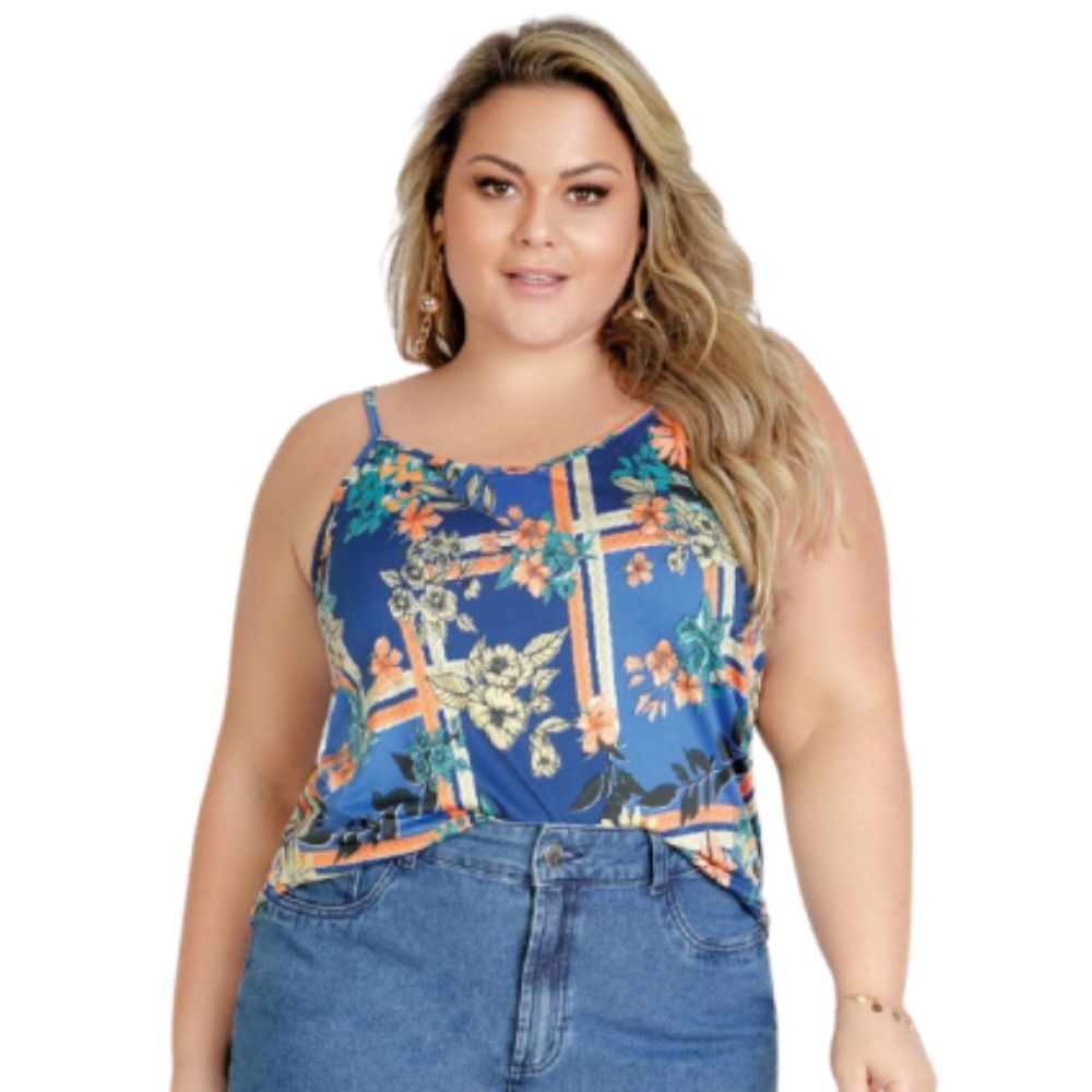 Blusa Feminina Floral Azul Com Alças Plus Size