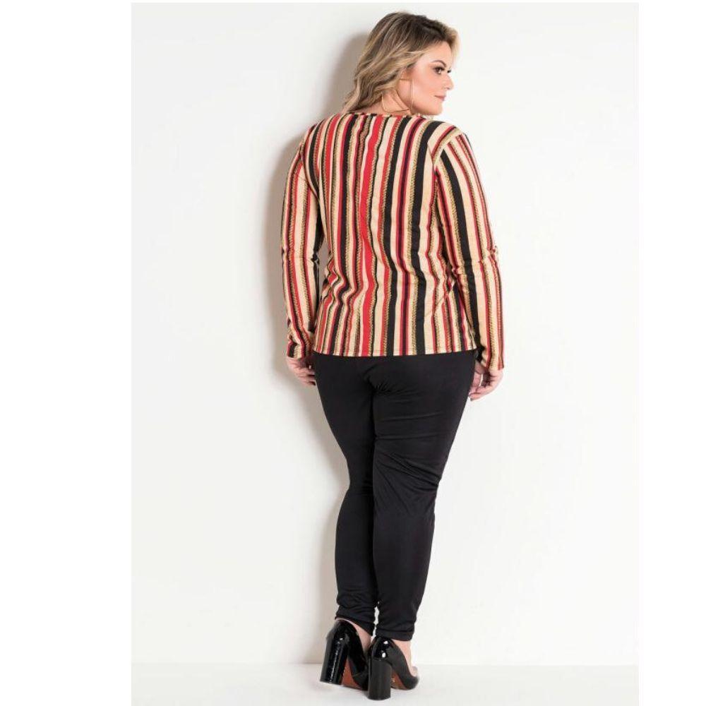 Blusa Listrada Pus Size com Fivela