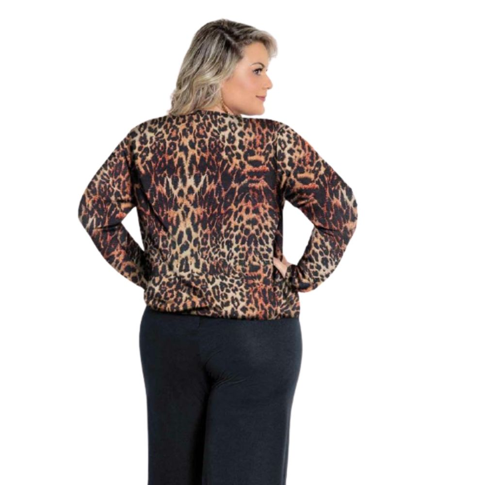 Blusa Onça Plus Size Transpassada com Tiras
