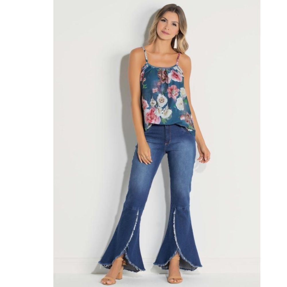 Blusa Plus Size Floral com Franzidos