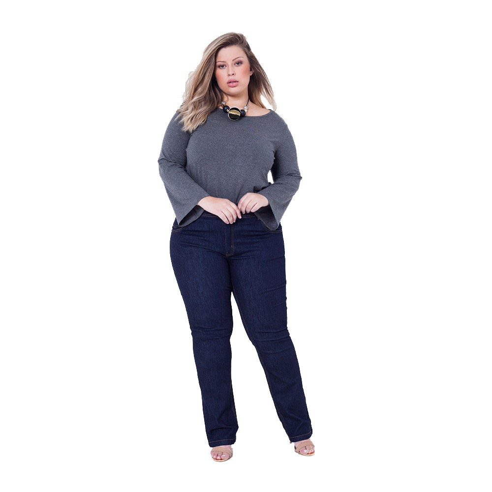 13d7019e86 Blusa Plus Size Sino Cinza - Loja Pus Size