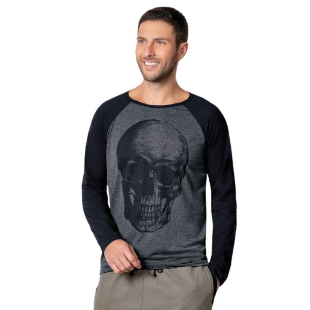Camiseta Caveira Manga Longa Masculina Camisa Blusa