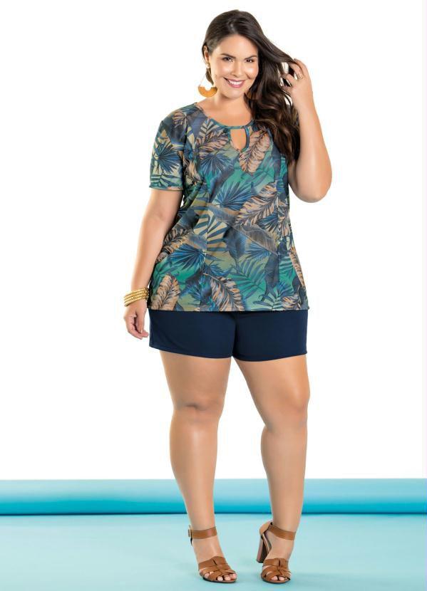 6ca6fe22e40c Conjunto Kit Blusa Feminina Plus Size E Shorts Plus Size Lançamento ...