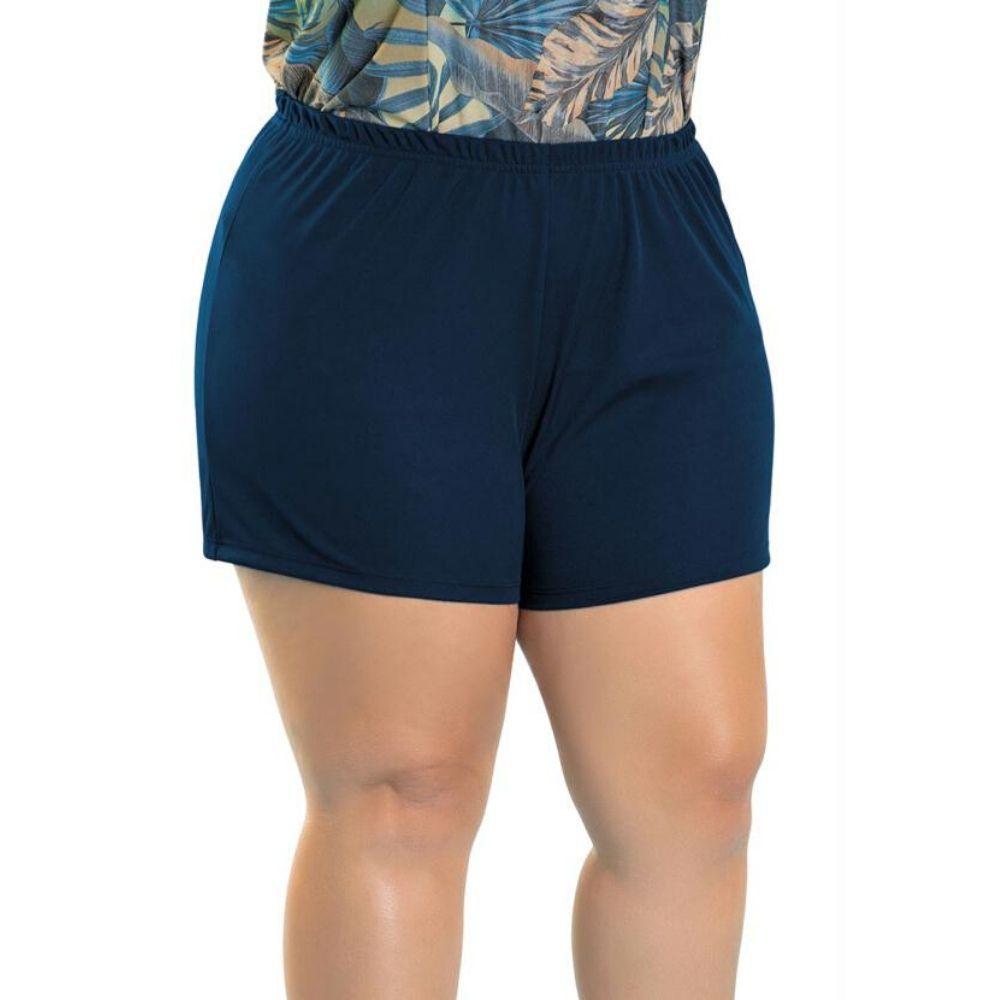Conjunto Blusa Plus Size e Short Plus Size Folhagem e Azul