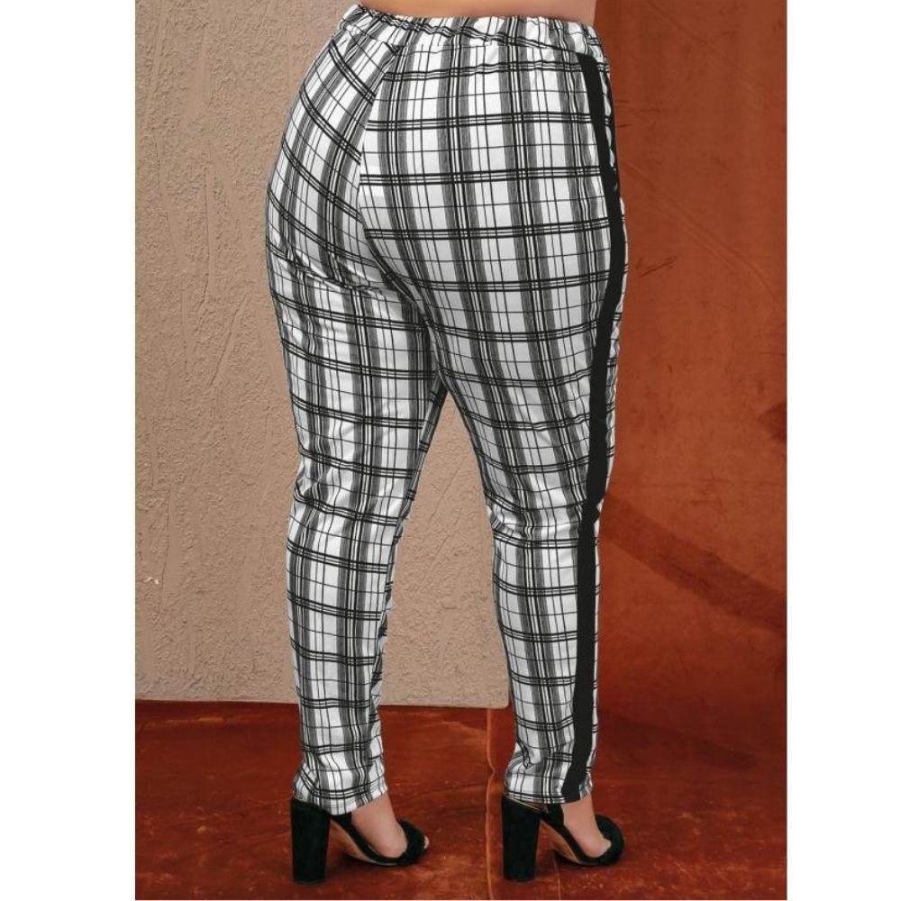Conjunto Roupas Femininas Frio Blusa e Calça Xadrez Plus Size