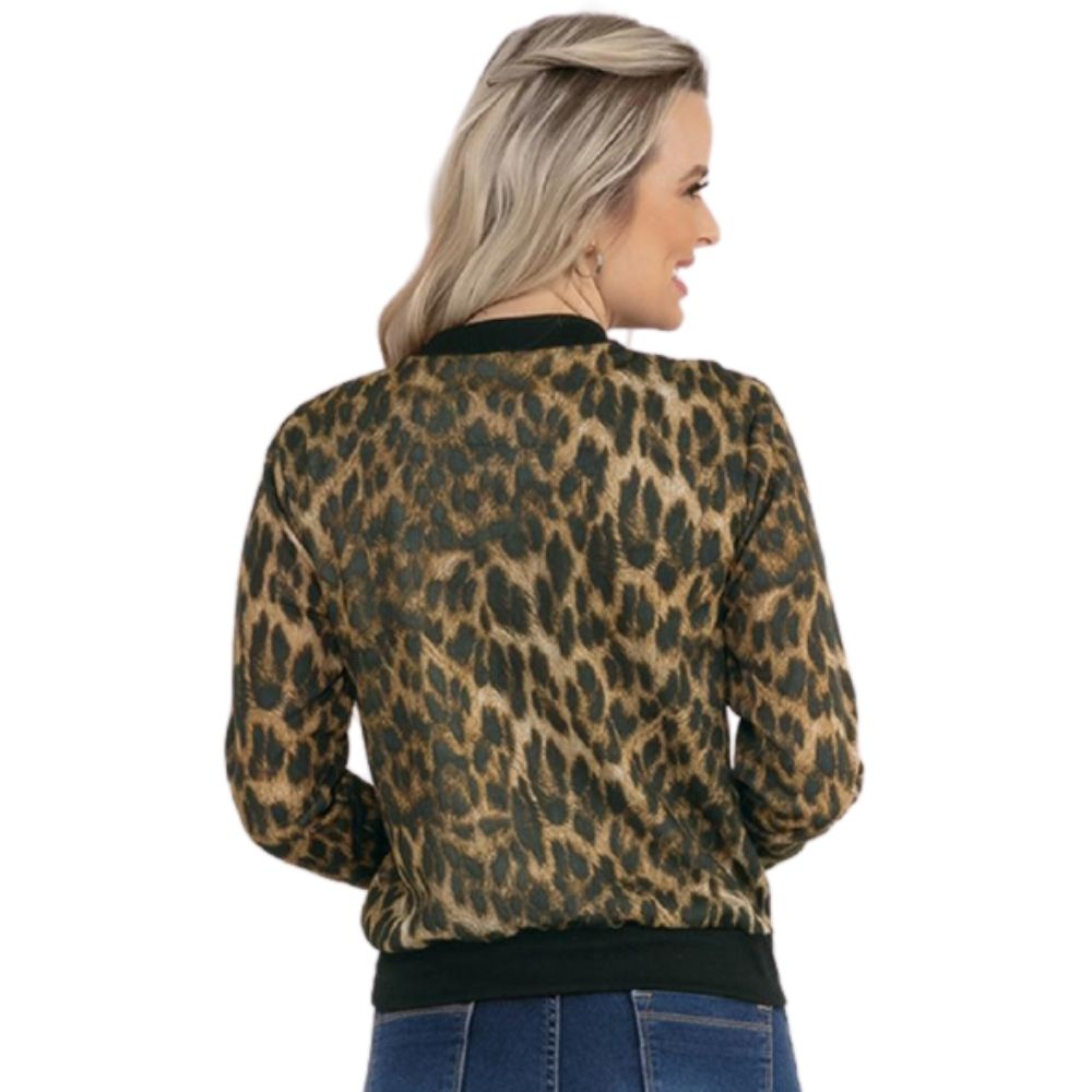 Jaqueta Bomber Feminina Onça Plus Size