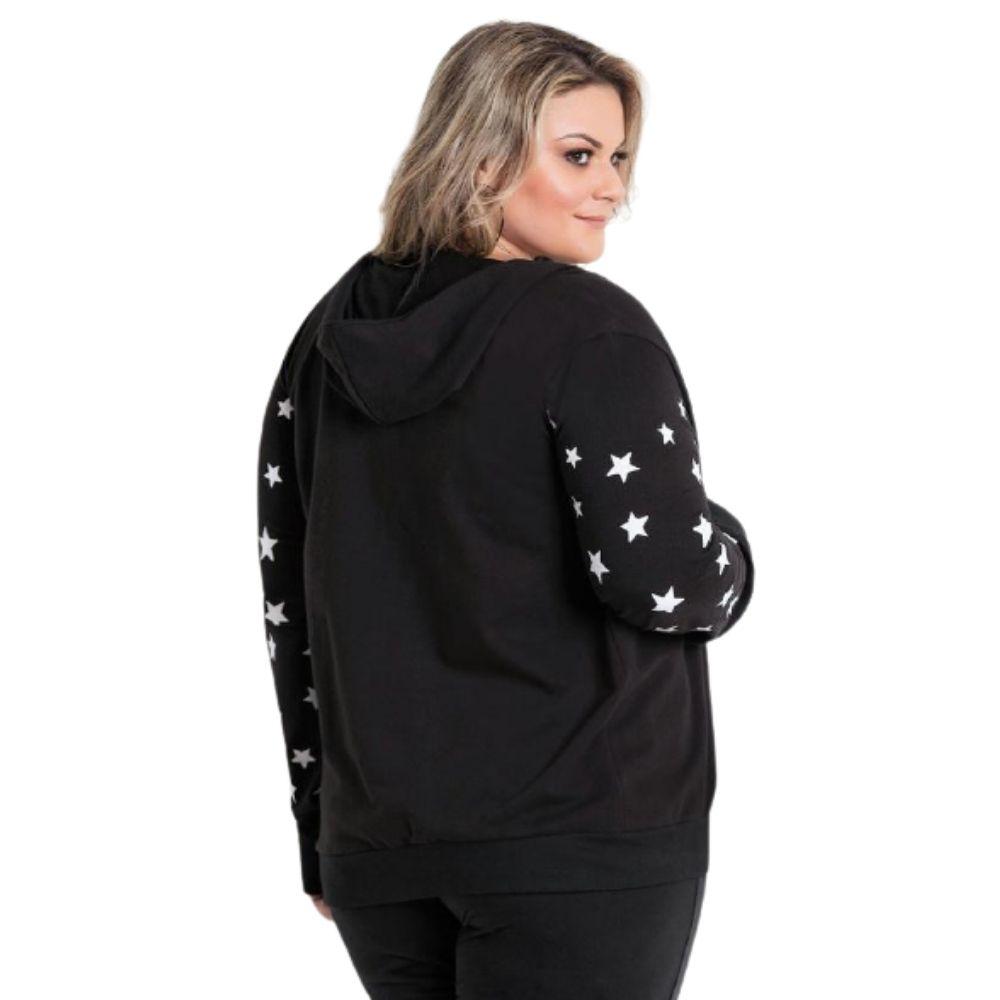 Jaqueta Plus Size Com Capuz Preta