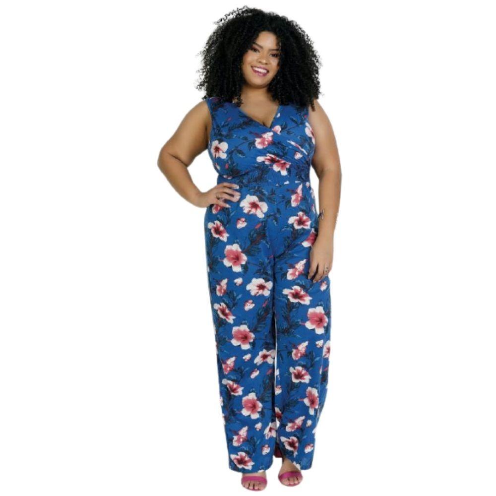 Macacão Longo Plus Size Pantalona Floral