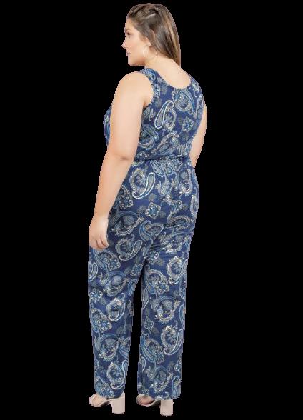 Macacão Plussais Mandalas Azul Com Botões Plus Size