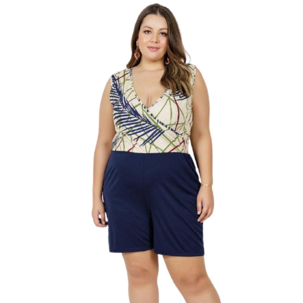Macaquinho Feminino Plus Size Folhagem E Marinho Plus Size