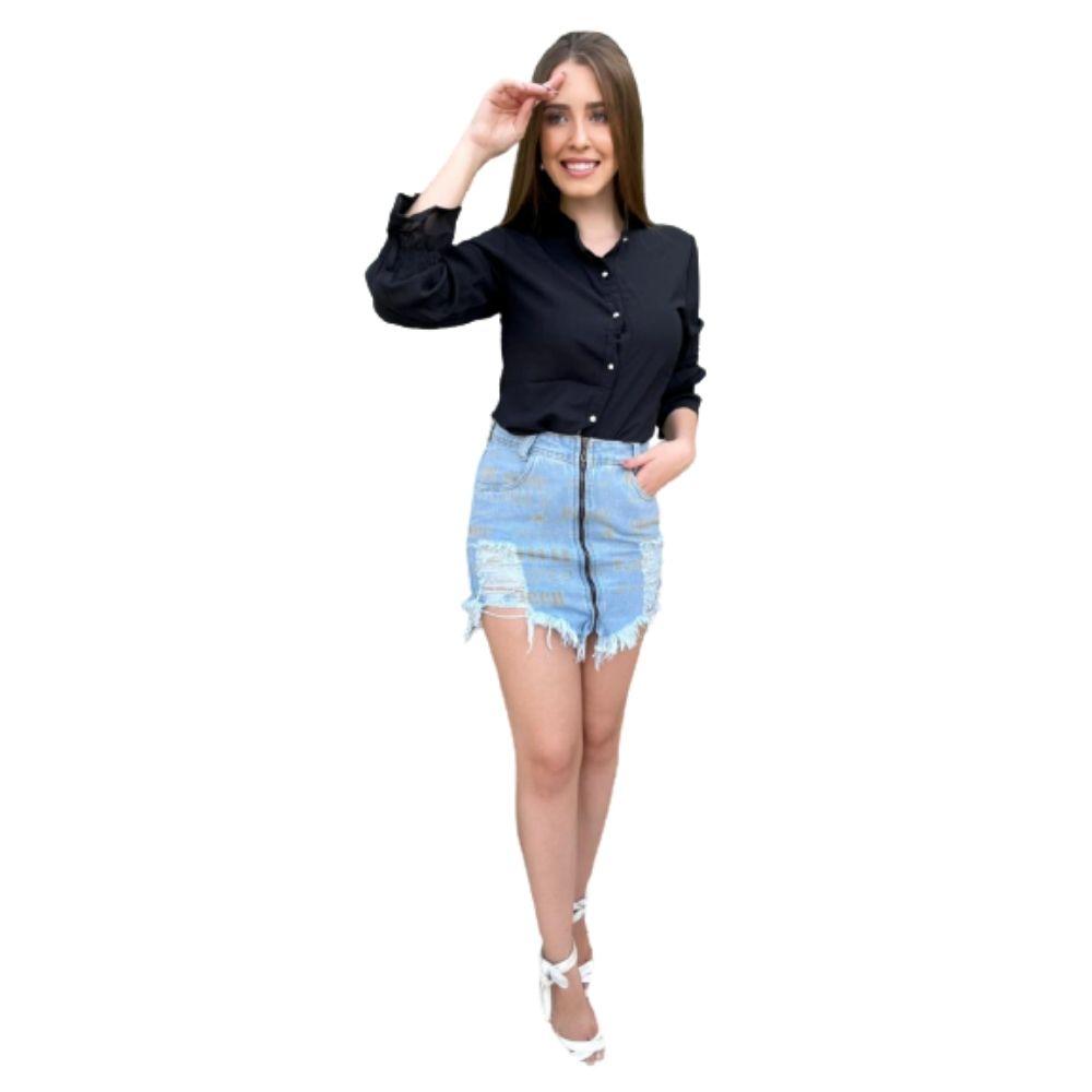 Saia Jeans Curta Roupas femininas Modinha feminina Online