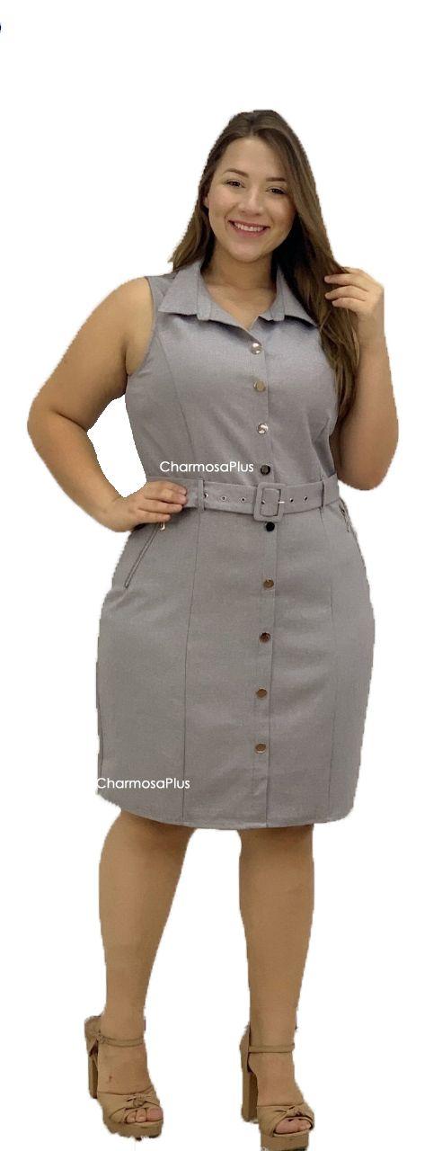 Vestido Com Cinto Cinza Plus Size