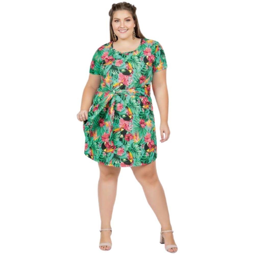Vestido Curto Com Amarração Plus Size