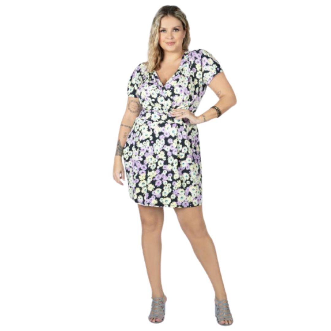Vestido Curto Floral Feminino Moda Feminina Plus Size
