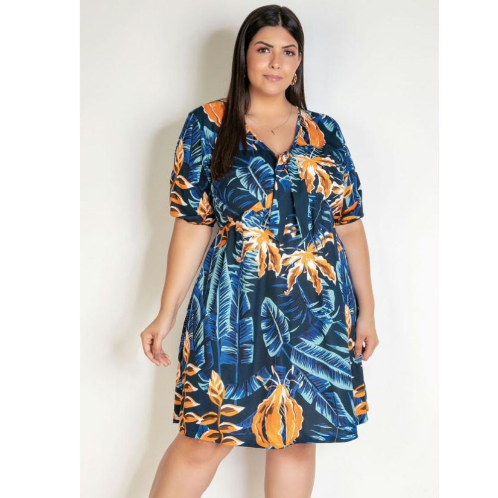 Vestido Curto Folhagem Plus Size